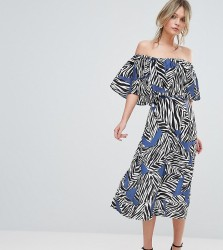 Every Cloud Mutli Zebra Bardot Midi Dress - Multi