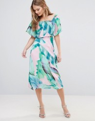 Every Cloud Palm Print Bardot Midi Dress - Multi