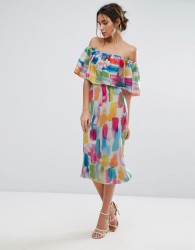 Every Cloud Smudge Print Bardot Midi Dress - Multi