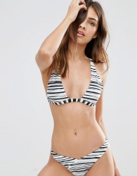 Evil Twin Reversible Khaki/Stripe Triangle Bikini Top - Multi