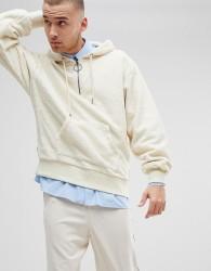 Fairplay 1/4 Zip Fleece Hoodie In Boxy Fit - White