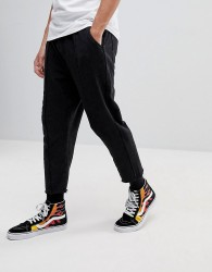 Fairplay Cropped Joggers With Raw Hem - Black