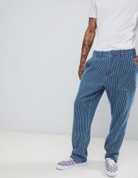 Fairplay high waist worker pant in blue stripe - Blue