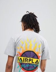 Fairplay Jam T-Shirt With Sport Back Print In Grey - Grey