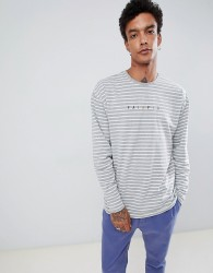 Fairplay long sleeve striped t-shirt with chest embroidery in grey - Grey