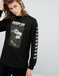 Fairplay Long Sleeve T-Shirt With Rose Back Print in Black - Black