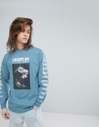 Fairplay Long Sleeve T-Shirt With Rose Back Print in Blue - Blue