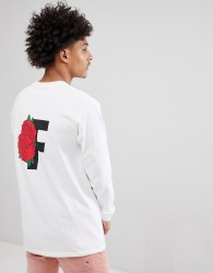 Fairplay Long Sleeve T-Shirt With Rose Back Print In White - White