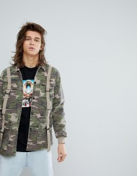 Fairplay Military Inspired Coach Jacket With D-Ring Detail in Camo - Green