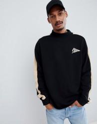 Fairplay mock neck sweatshirt with sleeve stripe in black - Black