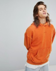 Fairplay Oversized Hoodie With Small Embroidered Chest Logo - Orange