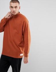 Fairplay Oversized Raglan Turtle Neck Long Sleeve T-Shirt - Orange