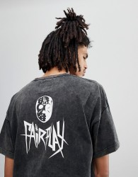 Fairplay Pigment Dyed Goldberg T-Shirt With Skull Back Print In Black - Black