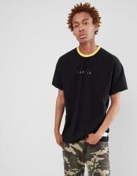 Fairplay rainbow logo ringer t-shirt in black - Black
