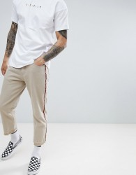 Fairplay relaxed skate chino with side stripe in stone - Stone