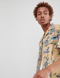 Fairplay short sleeve la print bowling shirt in stone - Stone