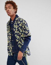 Fairplay short sleeve sunflower print bowling shirt in navy - Navy