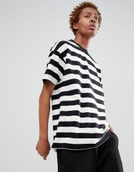 Fairplay stripe t-shirt in black and white - White