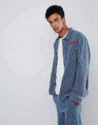 Fairplay striped worker jacket with chest embroidery in blue stripe - Blue