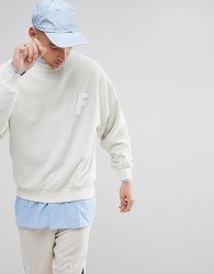 Fairplay Sweatshirt With Chenille Logo in Boxy Fit - White