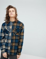 Fairplay Zip Through Shirt With Contrast Check - Blue