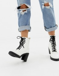 Faith Barc chunky heeled hiker boots in white - White