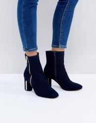 Faith Betina Metal Heeled Boots - Navy