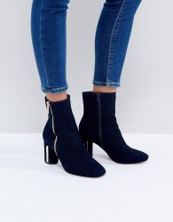 Faith Betina Metal Heeled Boots - Navy