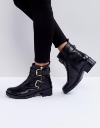 Faith Betsy Leather Biker Boots - Black