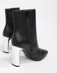 Faith Betty slim heel high rise ankle boots in black - Black