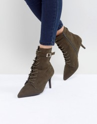 Faith Bing Lace Up Kitten Heel Ankle Boots - Green