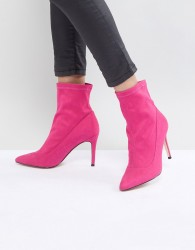Faith Bow Hot Pink Suede Sock Boots - Pink