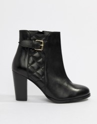 Faith Brooksie leather quilted heeled ankle boots in black - Black