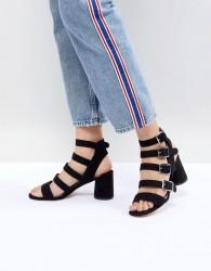 Faith Buckle Block Heeled Sandals - Black