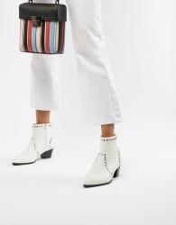 Faith Bud Studded Heeled Ankle Boots - White