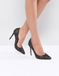Faith Chloe Brocade Court Shoes - Black