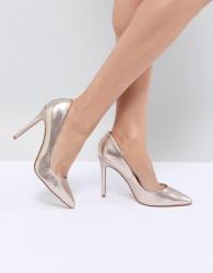 Faith Chloe Rose Gold Pointed Heeled Shoes - Gold