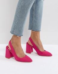 Faith Chunky Slingback Block Heeled Shoes - Pink