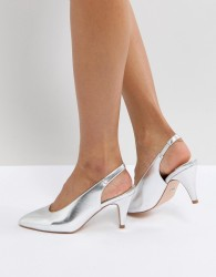 Faith Clarissa High Vamp Heeled Shoes - Silver