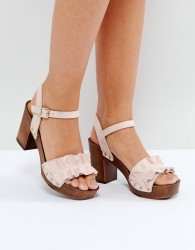Faith Dani Ruffle Heeled Sandals - Beige