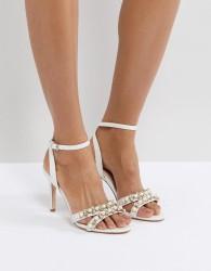 Faith Dasha Pearl Heeled Sandals - White