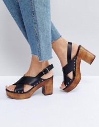 Faith Delilah Block Heeled Sandals - Black