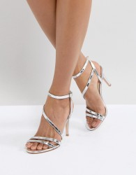 Faith Delly Silver Heeled Sandals - Silver