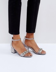 Faith Derry Velvet Embellished Block Heeled Sandals - Grey