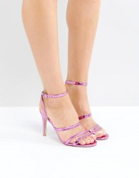 Faith Disco Metallic Strap Sandals - Pink