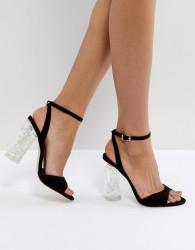 Faith Doris Clear Heel Sandals - Black