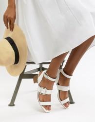 Faith Dustin Buckle Mid Heel Sandals - White