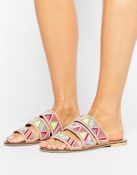 Faith Fabia Beaded Flat Sandals - Multi
