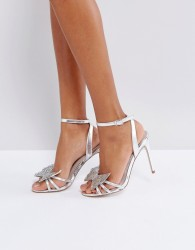 Faith Filly Butterfly Heeled Sandals - Silver