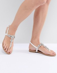 Faith Jile Silver Embellished Flat Sandals - Silver